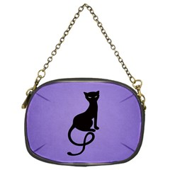 Purple Gracious Evil Black Cat Chain Purse (Two Sided)