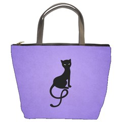 Purple Gracious Evil Black Cat Bucket Handbag