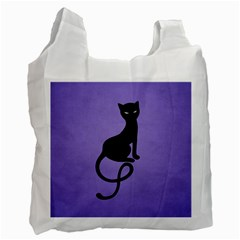 Purple Gracious Evil Black Cat White Reusable Bag (Two Sides)