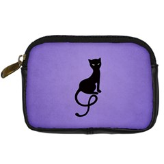 Purple Gracious Evil Black Cat Digital Camera Leather Case