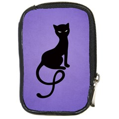 Purple Gracious Evil Black Cat Compact Camera Leather Case