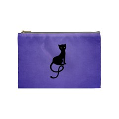 Purple Gracious Evil Black Cat Cosmetic Bag (medium)