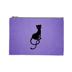 Purple Gracious Evil Black Cat Cosmetic Bag (large)