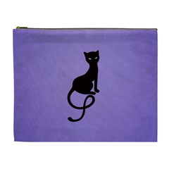 Purple Gracious Evil Black Cat Cosmetic Bag (xl)