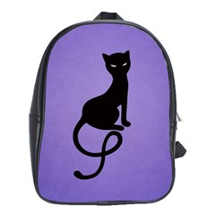 Purple Gracious Evil Black Cat School Bag (large)