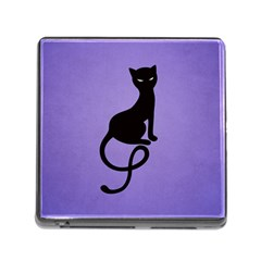 Purple Gracious Evil Black Cat Memory Card Reader with Storage (Square)