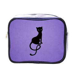 Purple Gracious Evil Black Cat Mini Travel Toiletry Bag (One Side)
