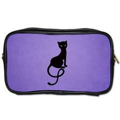 Purple Gracious Evil Black Cat Travel Toiletry Bag (One Side)