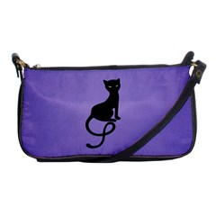 Purple Gracious Evil Black Cat Evening Bag