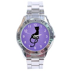 Purple Gracious Evil Black Cat Stainless Steel Watch
