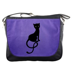 Purple Gracious Evil Black Cat Messenger Bag