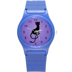 Purple Gracious Evil Black Cat Plastic Sport Watch (Small)