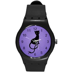 Purple Gracious Evil Black Cat Plastic Sport Watch (medium)