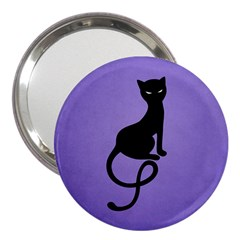 Purple Gracious Evil Black Cat 3  Handbag Mirror