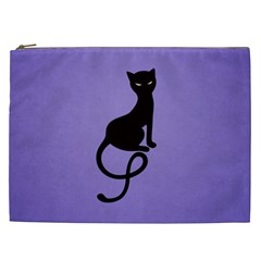Purple Gracious Evil Black Cat Cosmetic Bag (XXL)