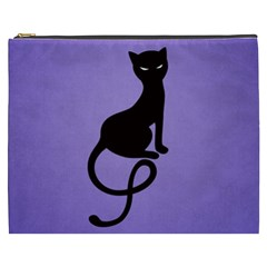 Purple Gracious Evil Black Cat Cosmetic Bag (XXXL)