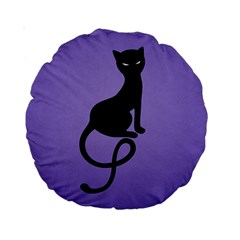 Purple Gracious Evil Black Cat 15  Premium Round Cushion