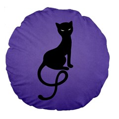 Purple Gracious Evil Black Cat 18  Premium Round Cushion