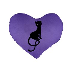 Purple Gracious Evil Black Cat 16  Premium Heart Shape Cushion