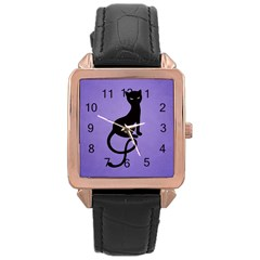 Purple Gracious Evil Black Cat Rose Gold Leather Watch