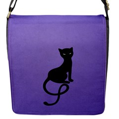Purple Gracious Evil Black Cat Flap Closure Messenger Bag (small)