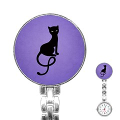 Purple Gracious Evil Black Cat Stainless Steel Nurses Watch