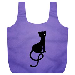 Purple Gracious Evil Black Cat Reusable Bag (xl)