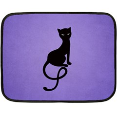 Purple Gracious Evil Black Cat Mini Fleece Blanket (Two Sided)