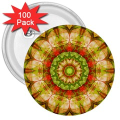 Red Green Apples Mandala 3  Button (100 pack)