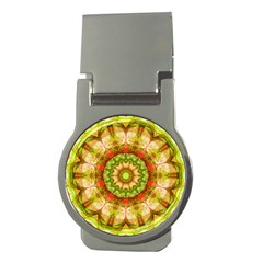 Red Green Apples Mandala Money Clip (round)
