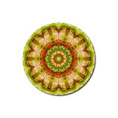 Red Green Apples Mandala Drink Coaster (round)