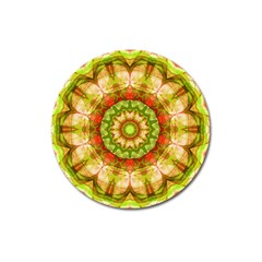 Red Green Apples Mandala Magnet 3  (Round)