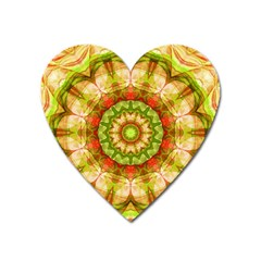 Red Green Apples Mandala Magnet (Heart)