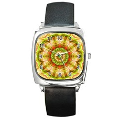 Red Green Apples Mandala Square Leather Watch