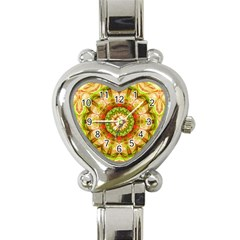 Red Green Apples Mandala Heart Italian Charm Watch
