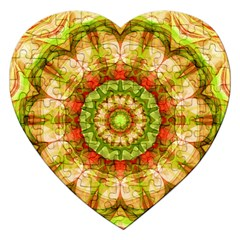 Red Green Apples Mandala Jigsaw Puzzle (heart)