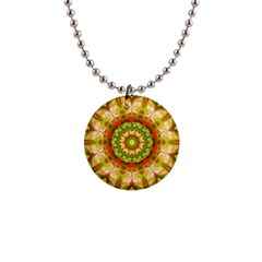 Red Green Apples Mandala Button Necklace