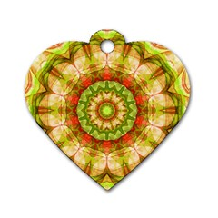Red Green Apples Mandala Dog Tag Heart (Two Sided)