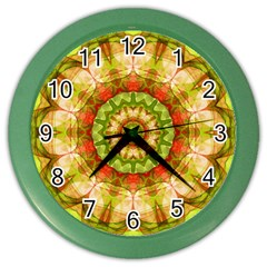Red Green Apples Mandala Wall Clock (Color)