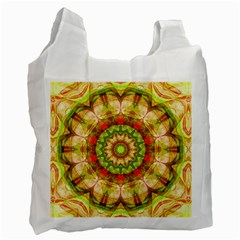 Red Green Apples Mandala White Reusable Bag (two Sides)