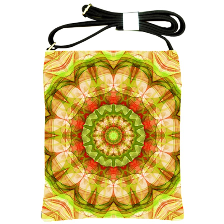 Red Green Apples Mandala Shoulder Sling Bag