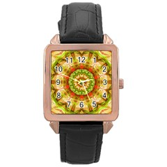 Red Green Apples Mandala Rose Gold Leather Watch