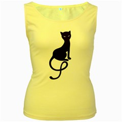 Gracious Evil Black Cat Women s Tank Top (Yellow)