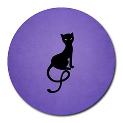 Purple Gracious Evil Black Cat 8  Mouse Pad (Round)