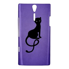 Purple Gracious Evil Black Cat Sony Xperia S Hardshell Case