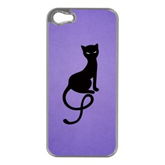 Purple Gracious Evil Black Cat Apple Iphone 5 Case (silver)