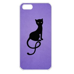 Purple Gracious Evil Black Cat Apple iPhone 5 Seamless Case (White)