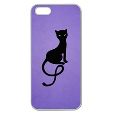Purple Gracious Evil Black Cat Apple Seamless Iphone 5 Case (clear)