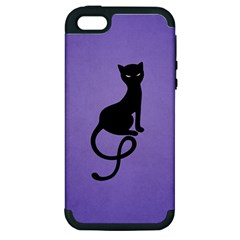 Purple Gracious Evil Black Cat Apple Iphone 5 Hardshell Case (pc+silicone)