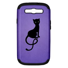 Purple Gracious Evil Black Cat Samsung Galaxy S III Hardshell Case (PC+Silicone)